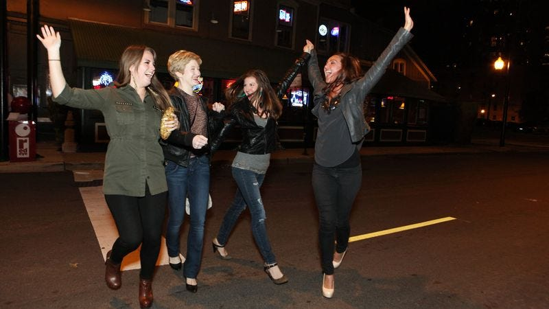Illustration for article titled Drunk Women Find Their Run Across Busy Street Hilarious