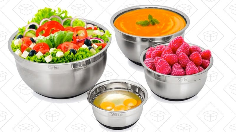 Sterline Stainless Steel Mixing Bowl Set of 4 w/ Lids   $22   Amazon