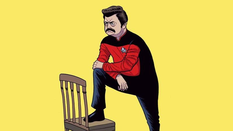 "Illustration for article titled ""Parks And Trek"" boldly mashes up two beloved series"