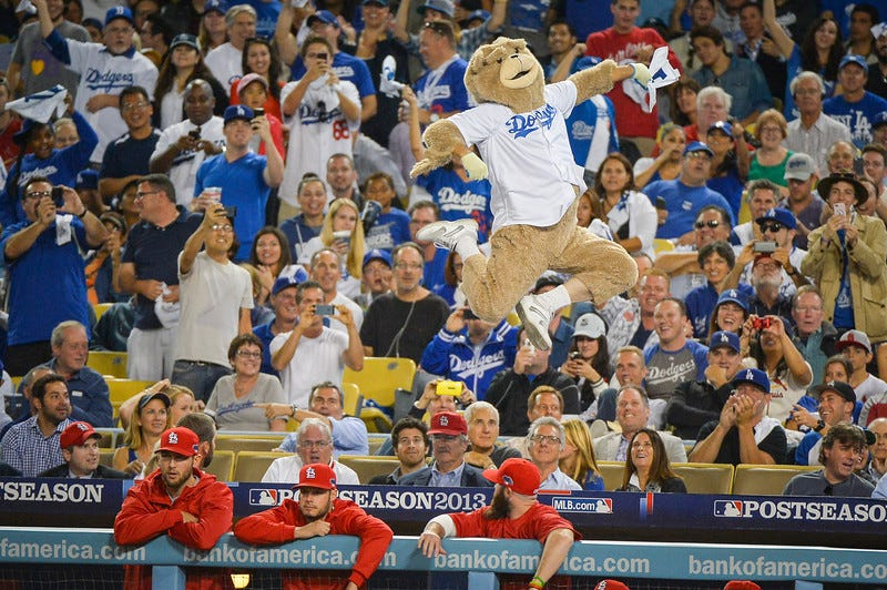 Illustration for article titled The Ballad Of The Fake Dodgers Bear Mascot