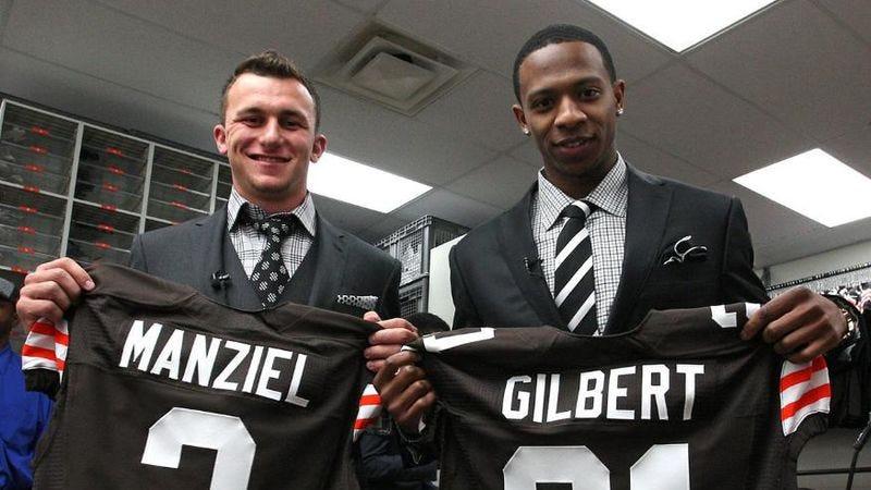 The Cleveland Browns' first-round draft picks, quarterback Johnny Manziel and cornerback Justin Gilbert (Photo: John H. Reid III/Cleveland Browns)