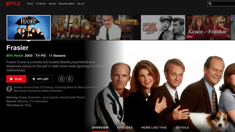 Illustration for article titled Benefits Of Streaming: The Number Of Fatal Car Accidents Caused By People Rushing To Get Home To Watch 'Frasier' Has Decreased By 80% Over The Last Decade