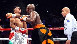 Floyd Mayweather Jr. knocks out Victor Ortiz. (Getty)