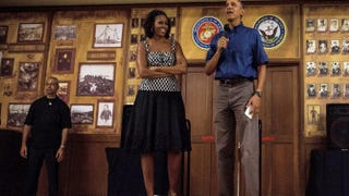 President Obama and the first lady on their annual Christmas visit to a Marine Corps Base in HawaiiKent Nishimura-Pool/Getty Images