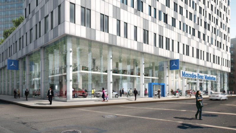 Illustration for article titled Is Mercedes-Benz's flagship NYC dealership making its neighbors deaf?