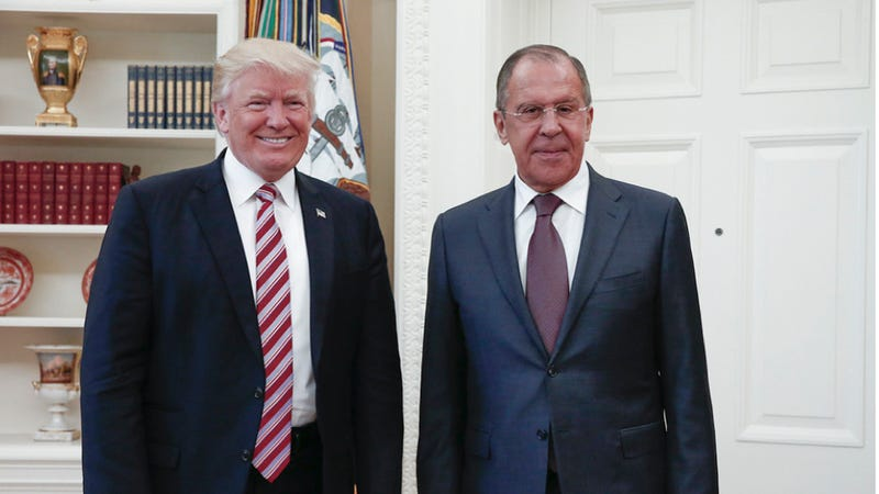 President Donald Trump meets with Russian Foreign Minister Sergey Lavrov, right, in the White House in Washington, Wednesday, May 10, 2017. President Donald Trump on Wednesday welcomed Vladimir Putin's top diplomat to the White House for Trump's highest level face-to-face contact with a Russian government official since he took office in January. (Russian Foreign Ministry Photo via AP)