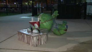 Illustration for article titled Phillie Phanatic Immortalized As Art, Promptly Vandalized