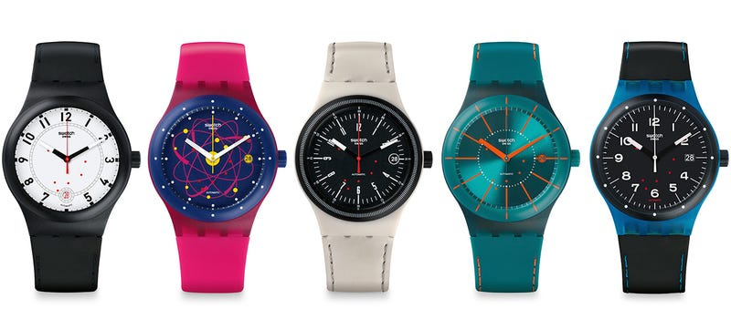 Illustration for article titled Swatch's Cheapest Self-Winding Watch Has a Bunch of Great New Looks