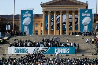 Members of the Philadelphia Eagles celebrate during a ceremony honoring their Super Bowl win on Feb. 8, 2018, in Philadelphia.