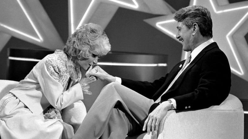 Barrett interviewing Rock Hudson in 1981.