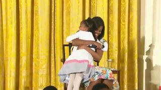 First lady Michelle Obama and the little girl who made her day April 22, 2015, in Washington, D.C.YouTube Screenshot