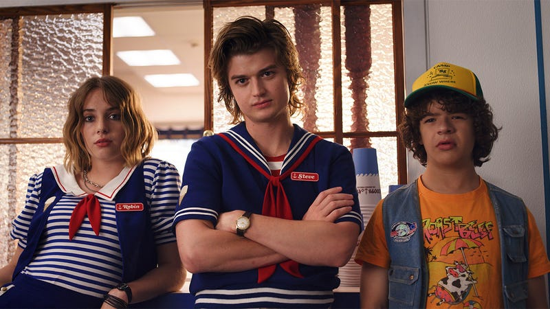 The Stranger Things crew at Scoops Ahoy.