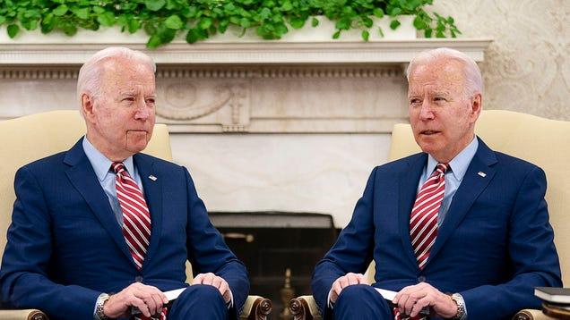 Biden Presses Cybernetic Biden Replica On Growing Threat Of Automation