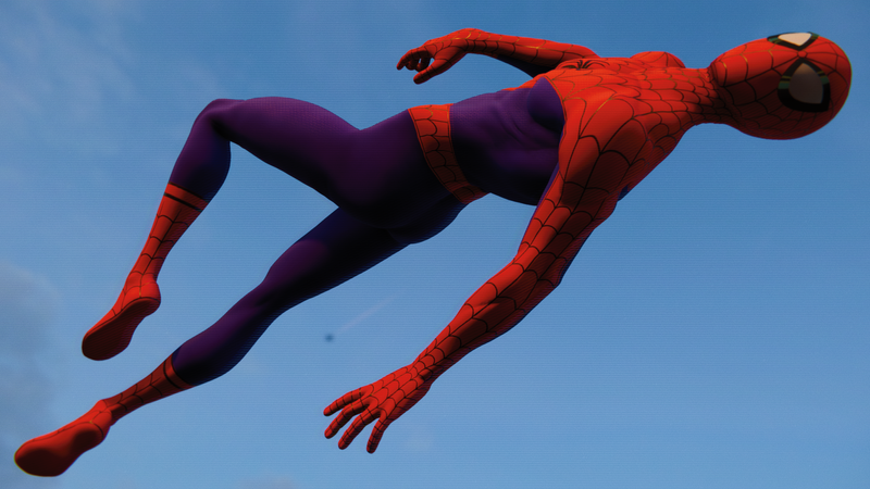 The lanky Peter Parker of Into the Spider-Verse leaps into action.