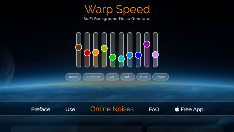 Warp Speed Noise Generator Soothes You To The Sounds Of