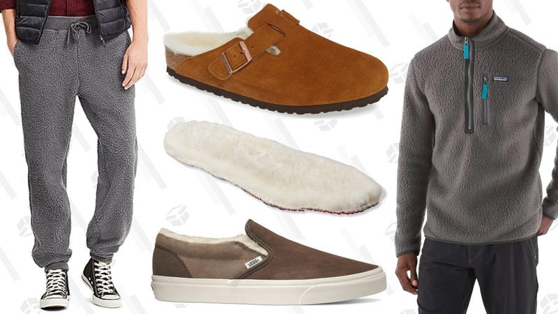 Uniqlo Faux Shearling Easy Pants, $20Birkenstock Boston Shearling-Lined Slip-On, $170L.L. Bean Adults Shearling Insoles, $30Vans Shearling-Lined Classic Slip-On, $65Patagonia Retro Pile Pullover, $129