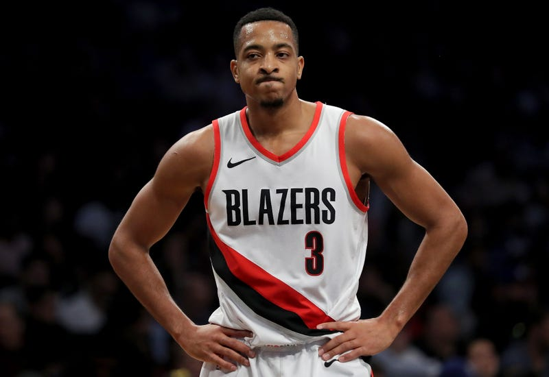 """Illustration for article titled C.J. McCollum On The Trail Blazers' Playoff Woes: """"Im Trying Jennifer"""""""