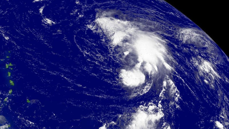 A satellite image of Florence over the Northern Atlantic northeast of Barbados.