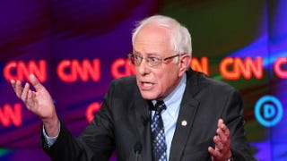 Democratic presidential candidate Bernie Sanders participates in the CNN Democratic presidential primary debate with rival Hillary Clinton March 6, 2016, in Flint, Mich. Michigan voters go to the polls March 8 for the state's primary.Scott Olson/Getty Images