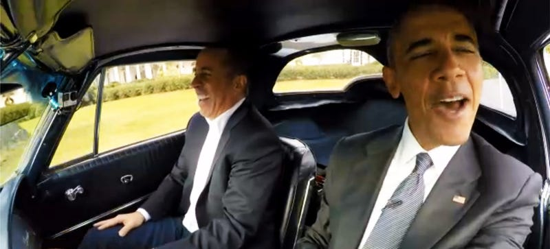 Illustration for article titled Barack Obama Drives A 1963 Corvette With Jerry Seinfeld!