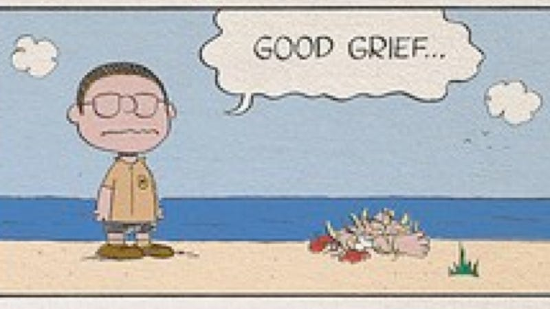 Illustration for article titled What if Charles Schulz wrote Jaws?