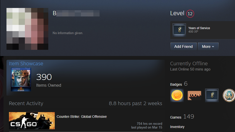 A screenshot of a Steam profile displaying the name and image of the suspected New Zealand shooter before Steam removed his name from many users' profiles.