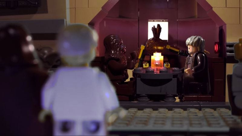 Illustration for article titled Watch Lego Groot, Hodor, and Chewbacca gab at the bar