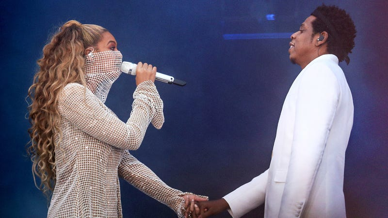 Beyoncé and Jay-Z perform on the On the Run II Tour in Glasgow, Scotland, on June 9, 2018.