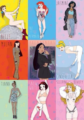 Illustration for article titled Disney Princesses in Miley Cyrus Poses/Outfits