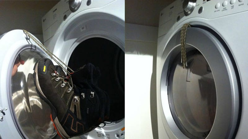 Hang Shoes From The Dryer Door To Keep Them Making Noise While Drying
