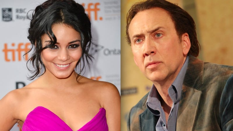 Illustration for article titled Nicolas Cage's Hairline Denies Creeping on Vanessa Hudgens
