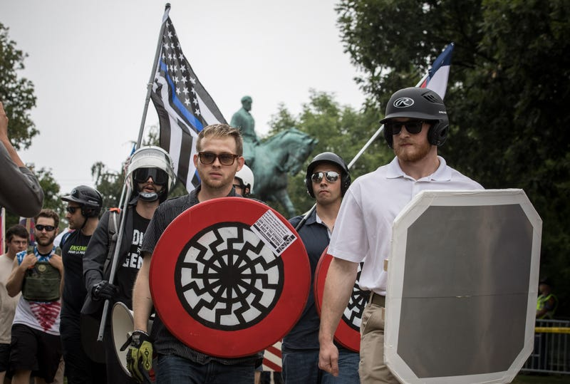 White supremacist groups rally in Emancipation Park in Charlottesville, Va., during the Unite the Right rally on Aug. 12, 2017.