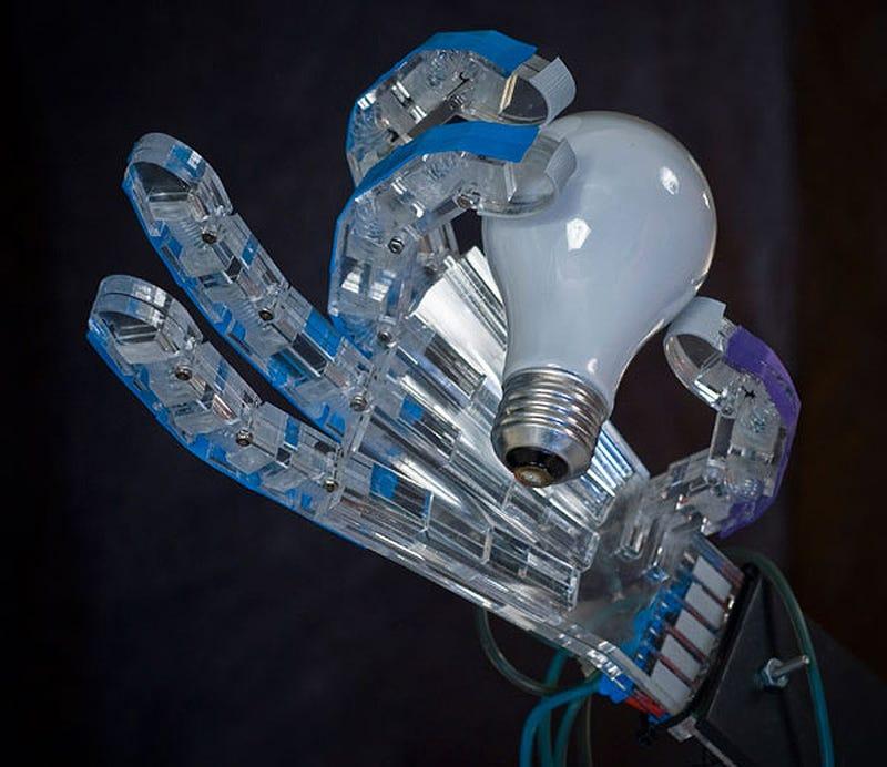 Illustration for article titled RAPHaEL Hand Easily Grasps Heavy Cans or Fragile Light Bulbs