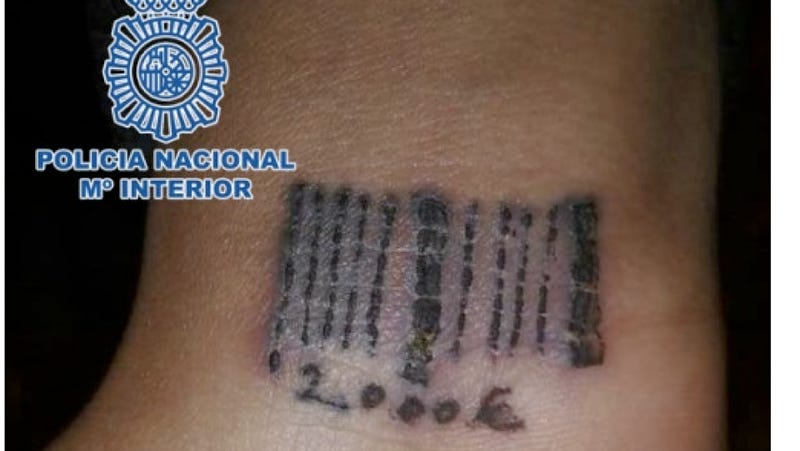 Illustration for article titled Spanish Police Rescue 19-Year-Old Woman Tattooed with a Barcode from Prostitution Ring