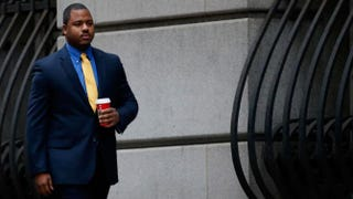 William Porter, one of six Baltimore City police officers charged in connection with the death of Freddie Gray, and the first to face trial, outside the courthouse in Baltimore on Nov. 30, 2015Rob Carr/Getty Images