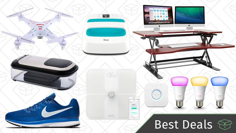 Illustration for article titled Friday's Best Deals: Philips Hue Lights, Standing Desk, Camera-Equipped Drone, and More