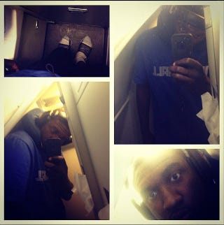 Illustration for article titled Roy Hibbert Wants You To Know He's Too Tall For An Airplane Bathroom