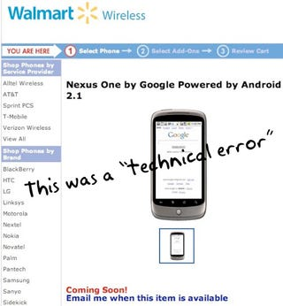 """Illustration for article titled Walmart Not Getting Nexus One, Leaked Product Page Described As """"Technical Error"""""""