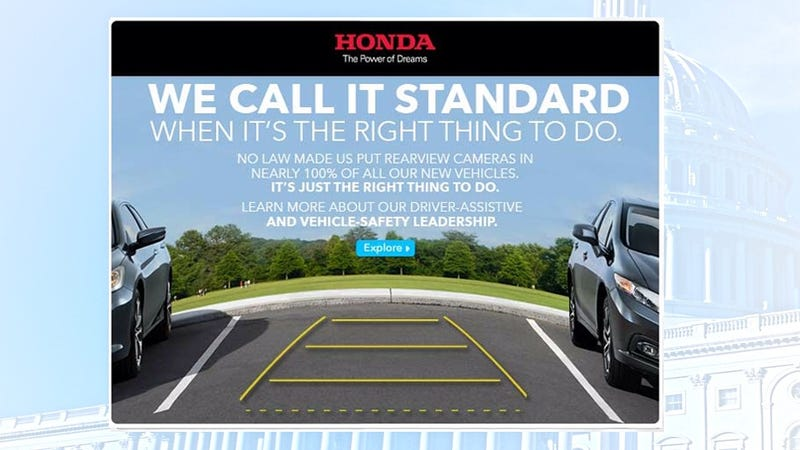 Illustration for article titled Honda ad calls out other automakers on backup camera law