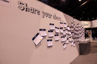 "Illustration for article titled CESpool: Haier Asks ""Share Your Ideas,"" Wall-Writers Display (Lack of) Intelligence"