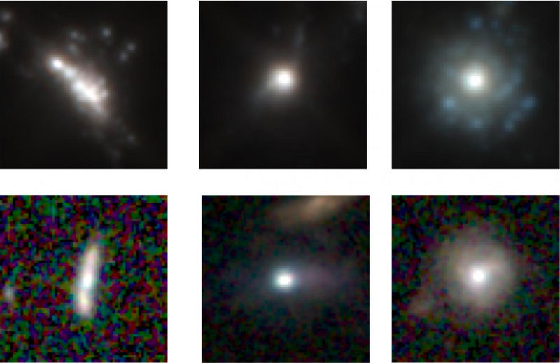 Three simulated galaxies grouped by a neural network on top, followed by three real galaxies in the corresponding buckets on the bottom