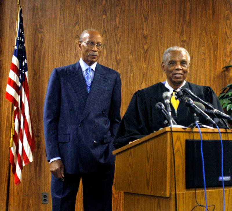 Judge Damon Keith (right) gets ready to swear in former Detroit Pistons star Dave Bing as the new Mayor of Detroit on May 11, 2009, in Detroit.Bill Pugliano/Getty Images