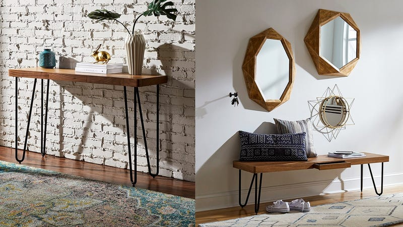 """Rivet Hairpin Wood and Metal Tall 29.5"""" Console Table   $120   AmazonRivet Hairpin Wood and Metal Short 15.7"""" Console Table   $90   Amazon"""