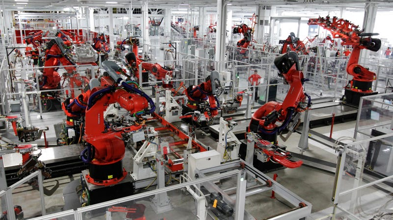 Robots on the Tesla Model S production line at Tesla's Fremont, California production facility, 2012.