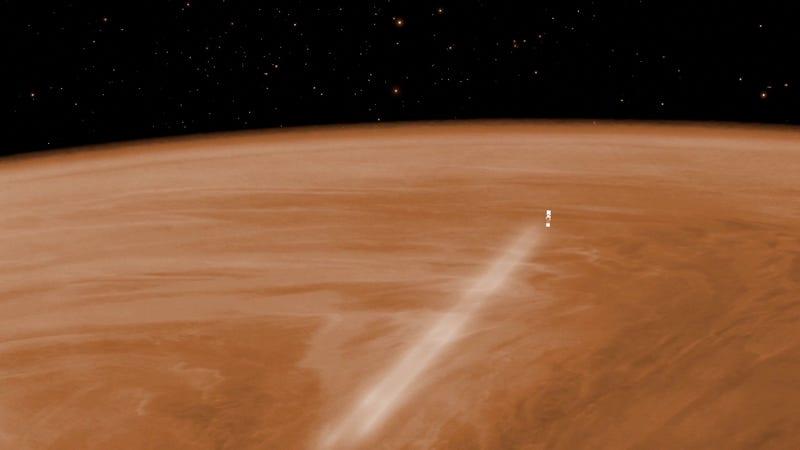 Artist's concept of Venus Express aerobraking. Image: ESA–C. Carreau