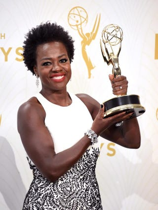 Viola Davis, star of ABC's How to Get Away With Murder, poses with her trophy in Los Angeles Sept. 20, 2015, after becoming the first black woman to win the Emmy for Outstanding Lead Actress in a Drama Series.Jason Merritt/Getty Images