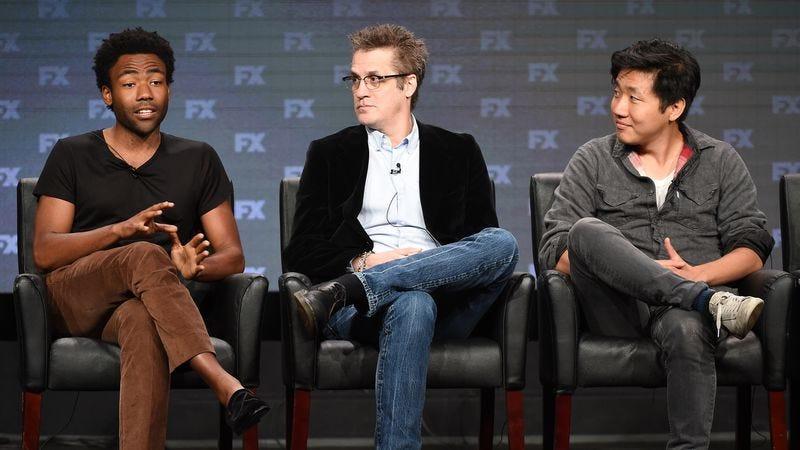 Simms (center), with Atlanta creator/star Donald Glover (left) and director Hiro Murai (Photo: Frank Micelotta/FX)