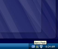 Illustration for article titled AeroPeek Puts Windows 7's Desktop Showing into XP/Vista
