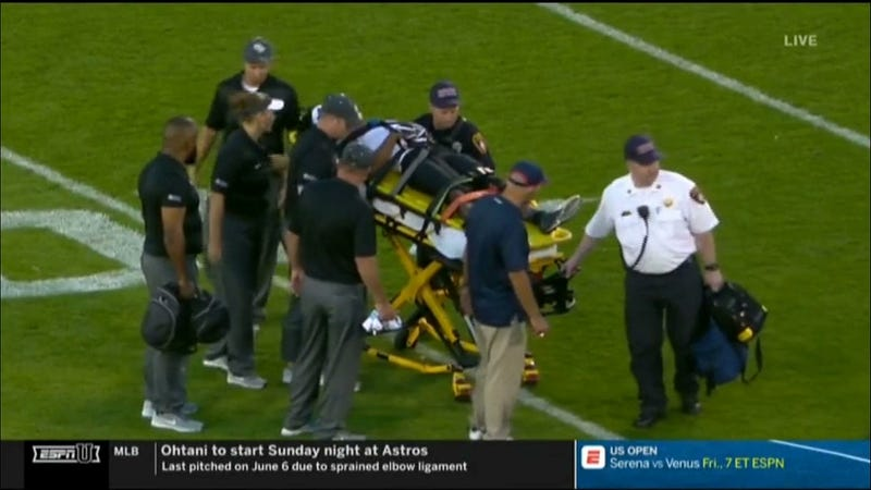 Illustration for article titled The College Football Season Began With A UCF Player Carried Off On A Stretcher