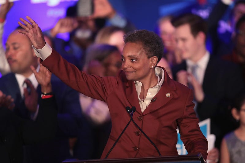 Lori Lightfoot delivers a victory speech after defeating Cook County Board President Toni Preckwinkle to become the next mayor of Chicago on April 02, 2019 in Chicago, Illinois. Lightfoot will become the first black female mayor of the city and its first openly gay mayor.